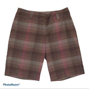 Nike Golf Women Plaid Pink & Brown Bermuda Shorts